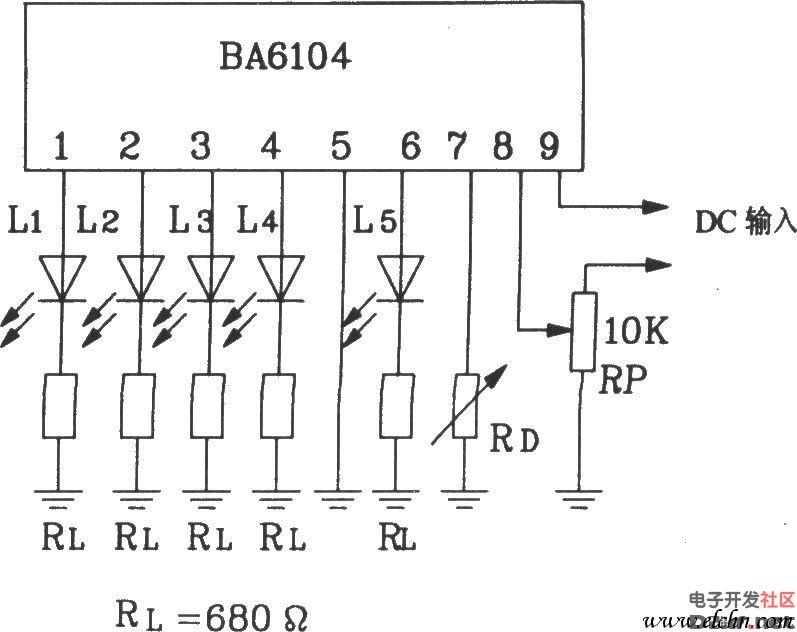 输出级采用射极跟随器形式,调整图中led外接电阻rl,可改变led驱动电流